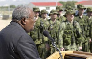 Unelected coup Prime Minister Gerard Latortue speaks to Canadian soldiers.