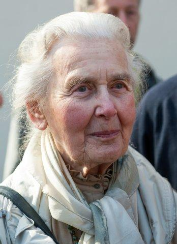 Ursula Haverbeck attending court in Hamburg on November 12, 2015 to defend herself for saying what she believes is the truth.